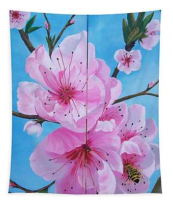 Peach Tree In Bloom Diptych Tapestry