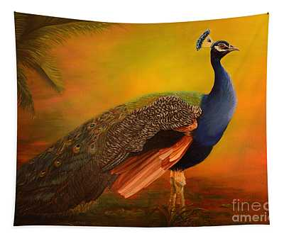 Peacock At Sunrise Tapestry
