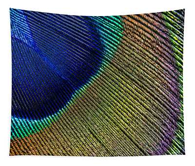 Peacock Feather Macro Tapestry