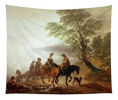 Peasants Going To Market Early Morning Tapestry