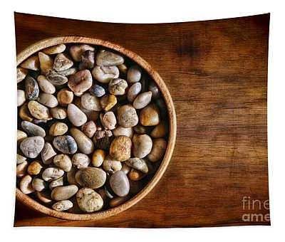 Pebbles In Wood Bowl Tapestry