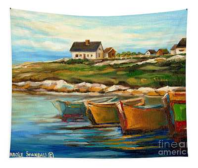 Peggys Cove With Fishing Boats Tapestry