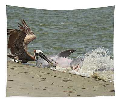 Pelican Steals The Fish Tapestry