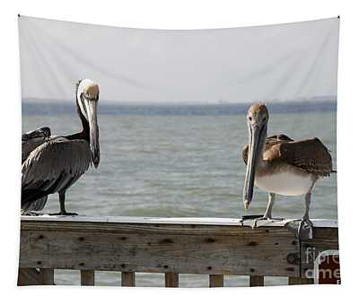 Pelicans On The Pier At Fort Myers Beach In Florida Tapestry