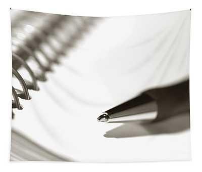 Pen On Spiral Notebook Tapestry