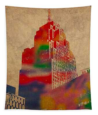 Penobscot Building Iconic Buildings Of Detroit Watercolor On Worn Canvas Series Number 5 Tapestry