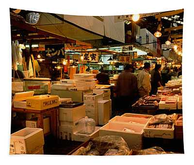 People Buying Fish In A Fish Market Tapestry