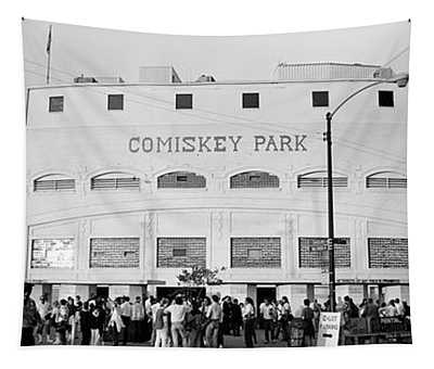 People Outside A Baseball Park, Old Tapestry