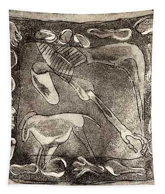 Petroglyph - Horse Takhi And Stones - Prehistoric Art - Cave Art - Rock Art - Cave Painters Tapestry