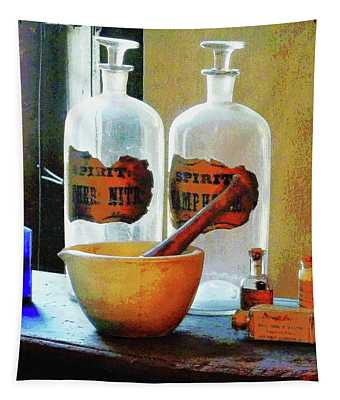 Pharmacist - Mortar And Pestle With Bottles Tapestry