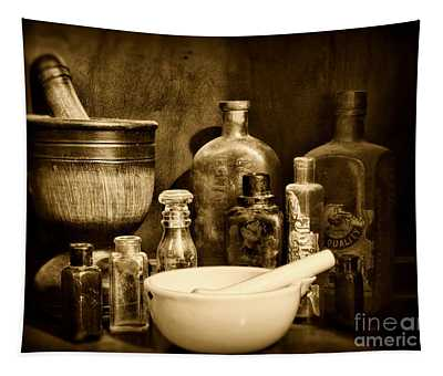 Pharmacy - Tools Of The Pharmacist - Black And White Tapestry
