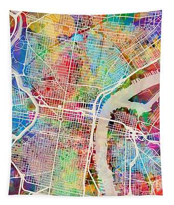 Philadelphia Pennsylvania Street Map Tapestry