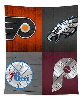 Philadelphia Sports Fan Recycled Vintage Pennsylvania License Plate Art Flyers Eagles 76ers Phillies Tapestry