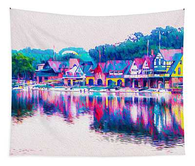 Philadelphia's Boathouse Row On The Schuylkill River Tapestry