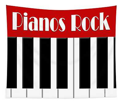 Pianos Rock In Red 2 Tapestry