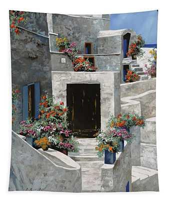piccole case bianche di Grecia Tapestry