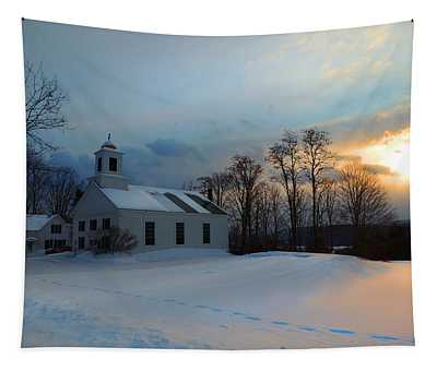 Piermont Church In Winter Light Tapestry