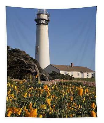 Pigeon Point Lighthouse And California Poppies Tapestry