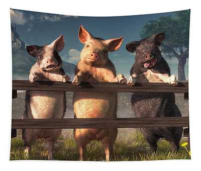 Pigs On A Fence Tapestry
