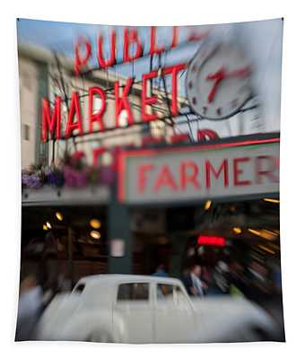 Pike Place Publice Market Neon Sign And Limo Tapestry
