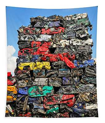 Pile Of Scrap Cars On A Wrecking Yard Tapestry
