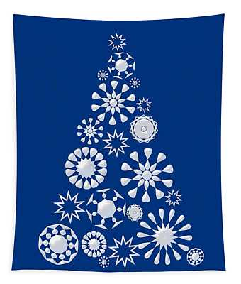 Pine Tree Snowflakes - Dark Blue Tapestry