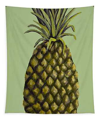 Pineapple On Green Tapestry