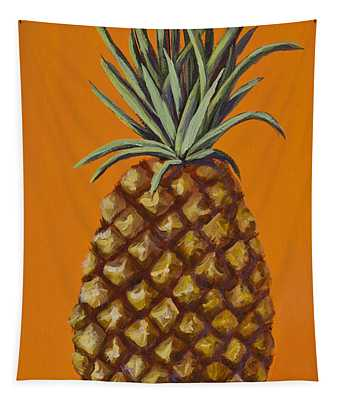 Pineapple On Orange Tapestry