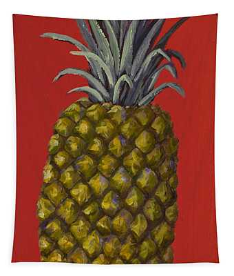 Pineapple On Red Tapestry