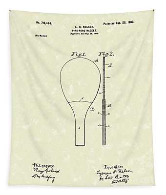 Ping-pong Racket 1902 Patent Art Tapestry
