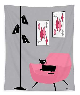 Pink 2 On Gray Tapestry