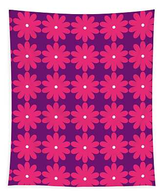 Pink And Purple Flowers Tapestry