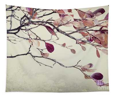 Pink Blueberry Leaves Tapestry