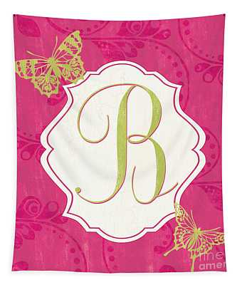 Pink Butterfly Monogram Tapestry