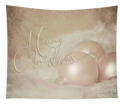 Pink Christmas Ornaments Tapestry