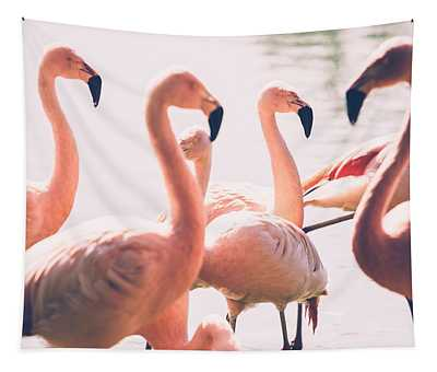 Pink Flamingo Flock Tapestry