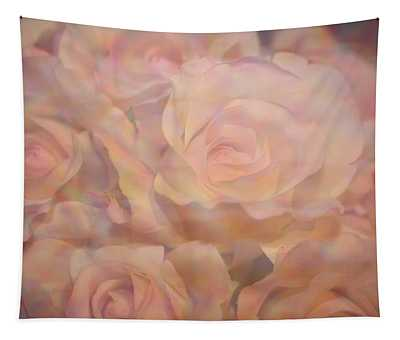 Pink Impressionistic Roses Tapestry