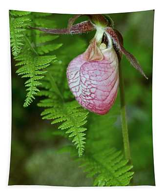 Pink Lady Slipper Tapestry