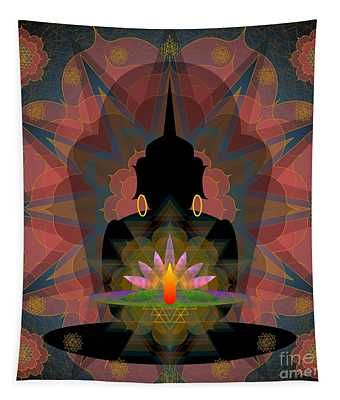 Pink Lotus Buddha Tapestry