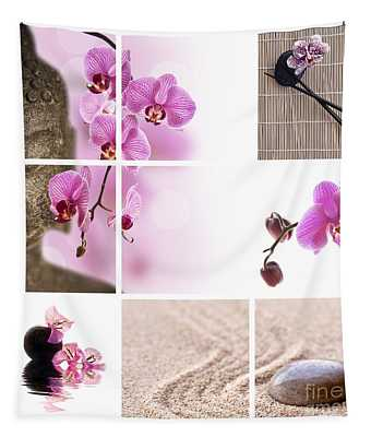 Pink Orchid And Buddha Collage Tapestry