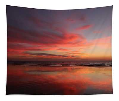Ocean Sunset Reflected  Tapestry