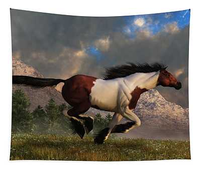Pinto Mustang Galloping Tapestry