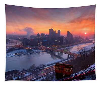 Pittsburgh Skyline Winter 2 Tapestry