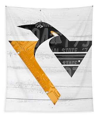 Pittsburgh Penguins Hockey Team Retro Logo Vintage Recycled Pennsylvania License Plate Art Tapestry