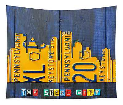 Pittsburgh Skyline License Plate Art Tapestry