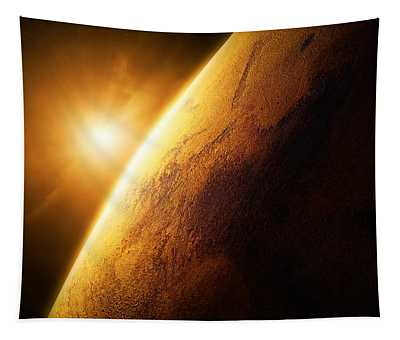 Planet Mars Close-up With Sunrise Tapestry