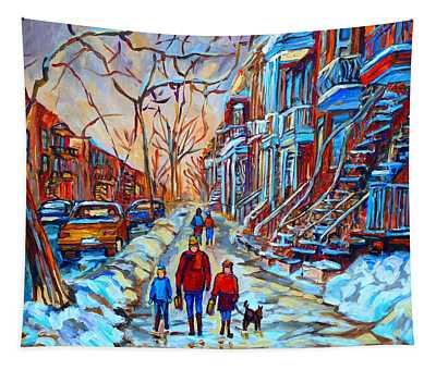 Plateau Montreal Street Scene Tapestry