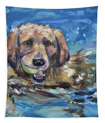Playful Retriever Tapestry