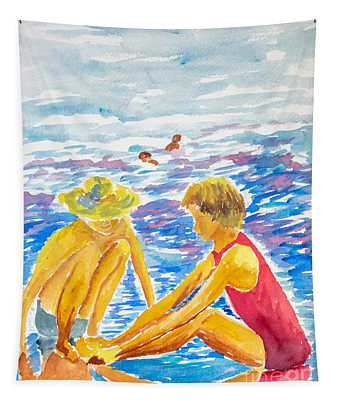 Playing On The Beach Tapestry