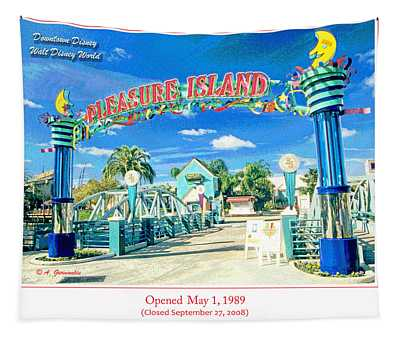 Pleasure Island Sign And Walkway Downtown Disney Tapestry